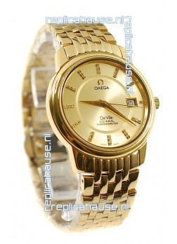 Omega Co-Axial Deville Japanese Gold Watch in Golden Dial