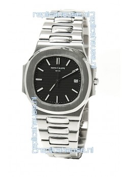 Patek Philippe Nautilus Mens Swiss Replica Watch in Black Dial