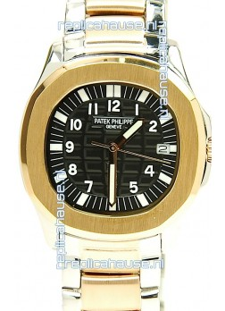 Patek Philippe Aquanaut Two Tone Ladies Gold Watch in Black Dial