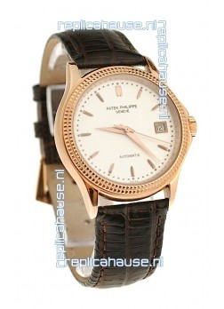Patek Philippe Geneve Replica Pink Gold Watch in White Dial