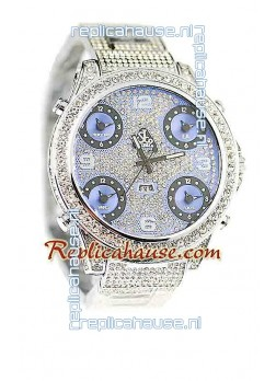 Jacob & Co Diamond Japanese Replica Watch in Light Blue Dial