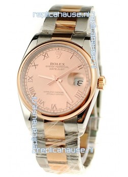 Rolex Day Date Two Tone Swiss Watch in Pink Gold Dial