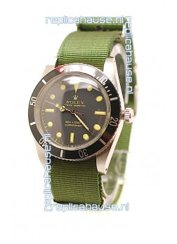 Rolex Submariner Swiss Watch in Green Nylon Strap