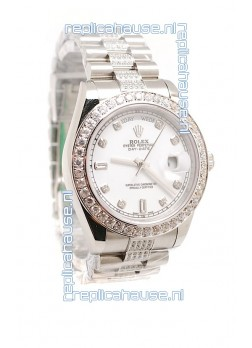Rolex Day Date Silver Japanese Mens Watch