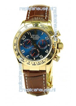 Rolex Daytona Cosmograph Swiss Replica Gold Plated Watch in Blue Dial