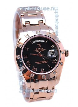 Rolex Day Date Rose Gold Japanese Replica Watch in Diamond Bezel