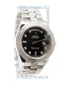 Rolex Day Date Silver Swiss Mens Watch