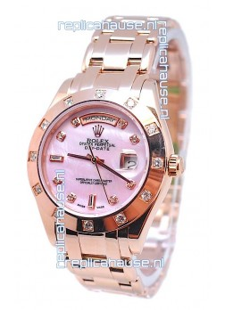 Rolex Day Date Pink Mother of Pearl swiss Replica Watch in Diamond Markers