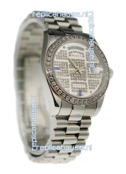 Rolex Day Date Silver Swiss Mens Watch in Diamond Dial