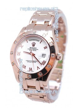 Rolex Day Date Rose Gold Swiss Replica Watch in Diamond Bezel