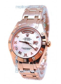 Rolex Day Date White Mother of Pearl Swiss Replica Watch in Roman Markers