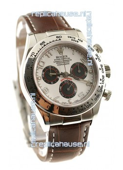 Rolex Daytona Cosmograph Swiss Replica Watch in Brown Leather Strap