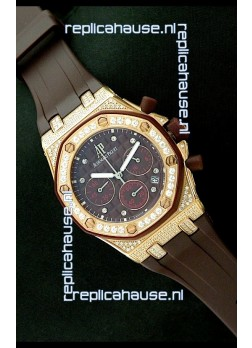 Audemars Piguet Royal Oak Ladies Alinghi Limited Edition Japanese Gold Watch in Maroon Dial