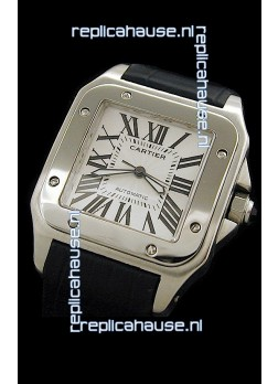 Cartier Santos 100 Swiss Replica Watch in White Dial