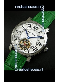 Cartier Ronde de Tourbillon Japanese Replica Watch in Green Strap