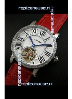 Cartier Ronde de Tourbillon Japanese Replica Diamond Watch in Red Strap