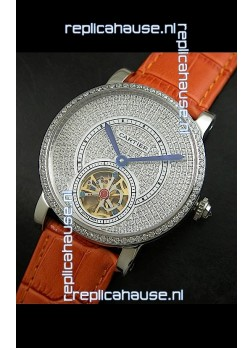 Cartier Ronde de Tourbillon Japanese Replica Diamond Watch in Orange Strap