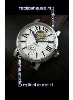 Ballon De Cartier Flying Tourbillon Japanese Replica Watch - Brown Strap