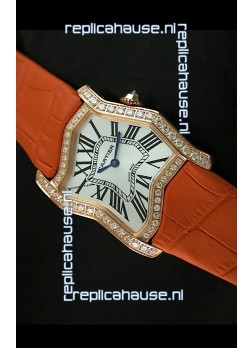 Cartier Tank Folle Ladies Replica Watch in Yellow Gold Case/Orange Strap
