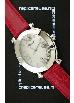Chopard Happy Sport Ladies Japanese Replica Watch in Red Strap