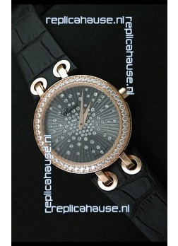 Chopard Xtravaganza Ladies Ladies Japanese Replica Rose Gold Watch in Grey Dial