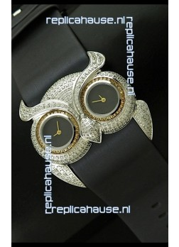Chopard Animal World Ladies Owl Black Full Diamond Watch in Black Double Eyes Dial