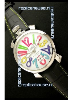 Gaga Milano Italy Japanese Replica Watch in Black Strap