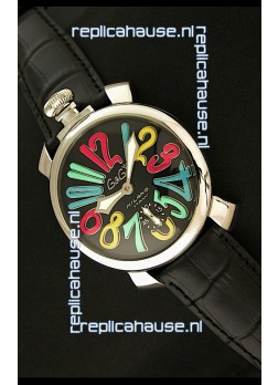 Gaga Milano Italy Japanese Replica Watch in Full Black