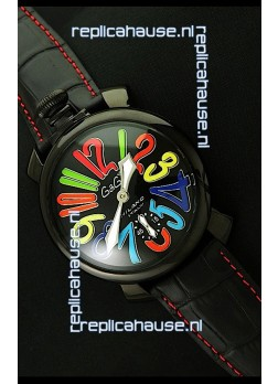 Gaga Milano Italy Japanese Replica PVD Watch in Black Dial