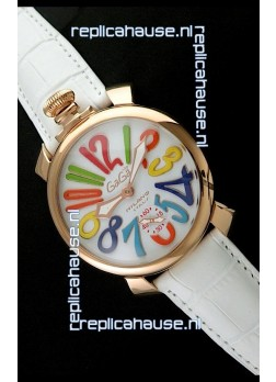 Gaga Milano Italy Japanese Replica Rose Gold Watch in White Dial
