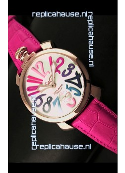 GaGa Milano Japanese Handwind Movement in Pink Strap - Pink Gold Casing