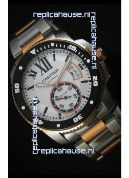 Calibre De Cartier Watch 42MM Black Dial Two Tone Case White Dial - 1:1 Mirror Replica Watch