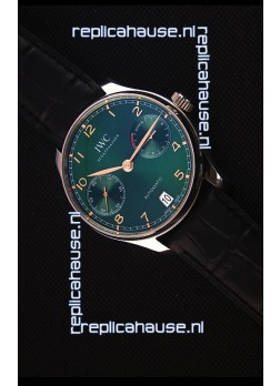 IWC Portugieser Swiss Updated Version - 1:1 Mirror Replica Watch Green Dial Steel Case Watch