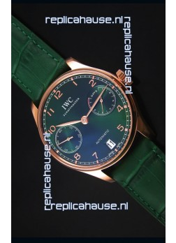 IWC Portugieser Swiss 1:1 Mirror Replica Watch Green Dial Rose Gold Case Watch
