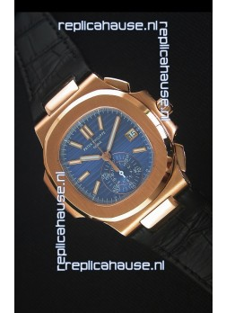 Patek Philippe Nautilus 5980 Chronograph Rose Gold in Blue Dial - 1:1 Mirror Replica