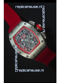 Richard Mille RM011 Filipe Massa Titanium Case Swiss Replica Watch in Red Nylon Strap