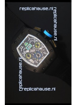 Richard Mille RM011 Filipe Massa PVD Swiss Replica Watch in Black Nylon Strap