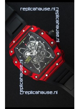 Richard Mille RM35-01 One Piece Red Forged Carbon Case Watch in Black Strap