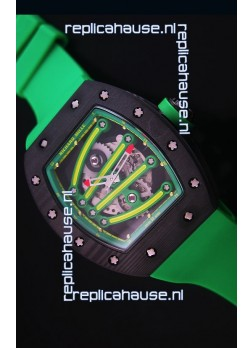 Richard Mille RM059 Yohan Blake Forged Carbon Case Swiss Replica Watch in Green Bezel