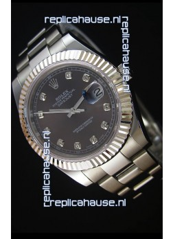 Rolex Datejust II 41MMwith Cal.3136 Movement Swiss Replica Watch in Grey Dial Diamonds Markers