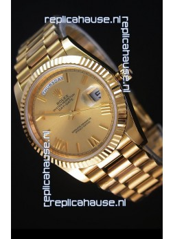 Rolex Day-Date 40MM Replica Watch in Gold Dial Roman Numerals Cal.3255 Swiss Movement