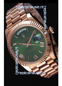 Rolex Day-Date 40MM Rose Gold in Green Dial with Roman Hour Numerals