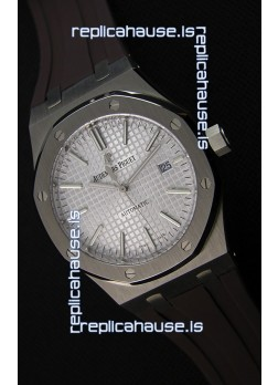 Audemars Piguet Royal Oak 41MM Silver Dial Rubber Strap  - 1:1 Mirror Ultimate Edition