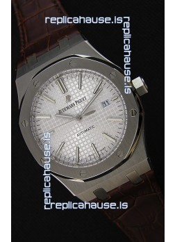Audemars Piguet Royal Oak 41MM Silver Dial Leather Strap - 1:1 Mirror Ultimate Edition