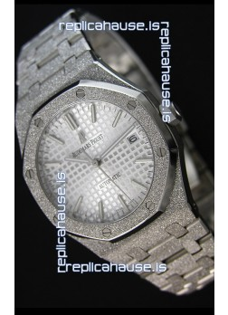 Audemars Piguet Royal Oak Frosted Self-Winding White Gold White Dial 1:1 Mirror Replica Watch