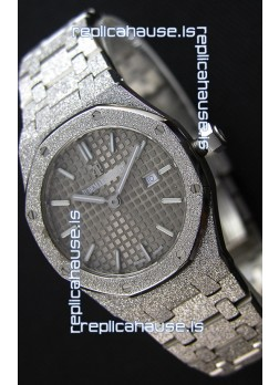 Audemars Piguet Royal Oak Frosted White Gold QUARTZ Watch 33MM Grey Dial - 1:1 Mirror Replica
