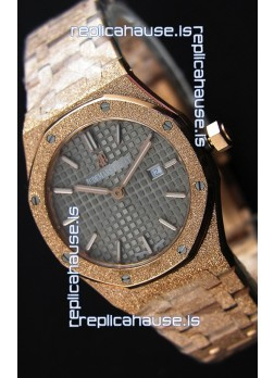 Audemars Piguet Royal Oak Frosted Rose Gold QUARTZ Watch Grey Dial 33MM - 1:1 Mirror Replica