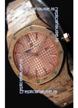 Audemars Piguet Royal Oak Frosted Rose Gold QUARTZ Watch Champange Dial 33MM - 1:1 Mirror Replica