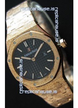 Audemars Piguet Royal Oak Frosted Rose Gold QUARTZ Watch Black Dial 33MM - 1:1 Mirror Replica