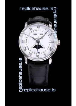 "Blancpain ""Villeret Quantième Complet"" 904L Steel Swiss Watch in White Dial"